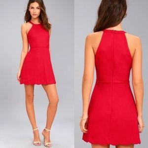 Lulu's Red Scalloped Sleeveless Halter Tank Dress